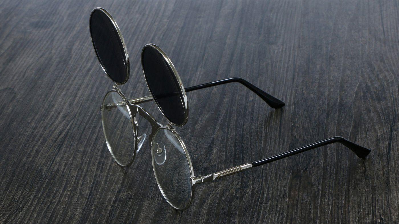 70eb7022b91 ... ZXG Multicolor Aviator Sunglasses ( Steampunk Sunglasses Round Metal  Retro Flip Circu ) ...