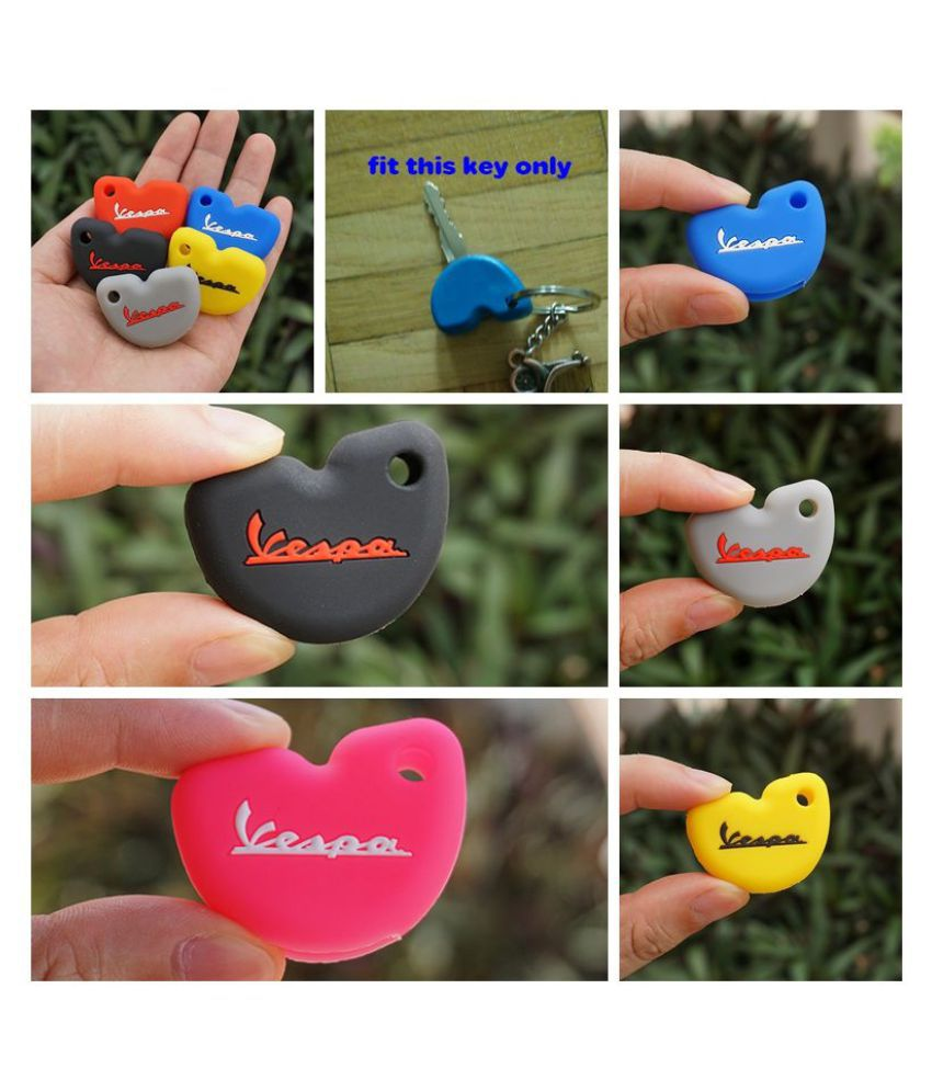 Silicone Rubber Key Fob Set Case Cover Cap Sticker Protect Keyring Keychain for Vespa Piaggio New Fly 3vte 125 Gts Gtv 250 300