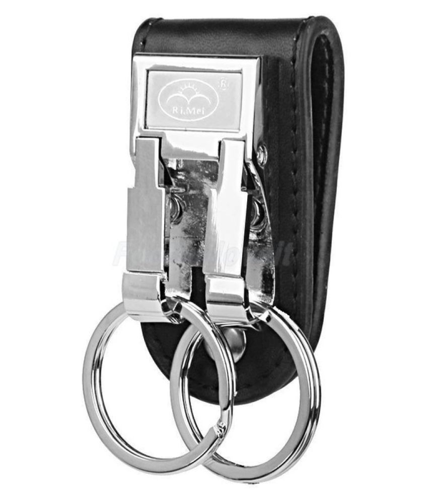 Stainless Steel Business Leather Belt Keychain Key Ring Holder Key Fob Buckle Clip 2 Loops Keyring
