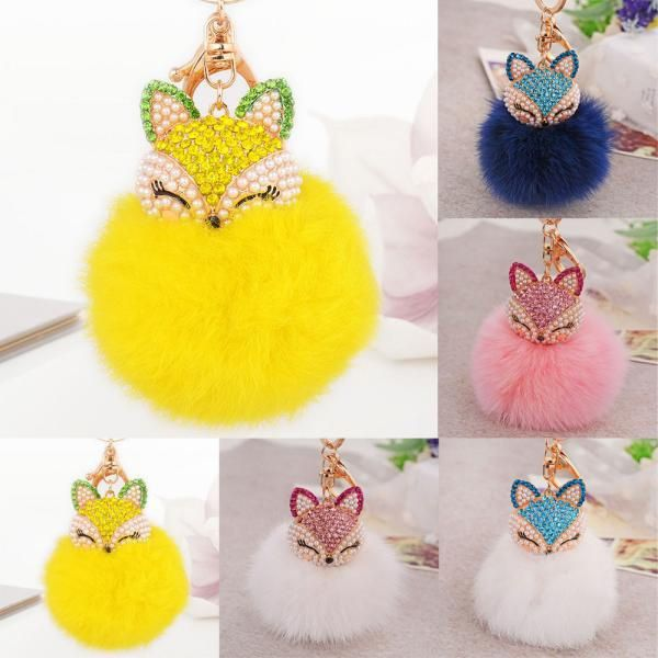 1PC Fox Fur Ball with Artificial Fox Head Inlay Pearl Rhinestone Key Chain White