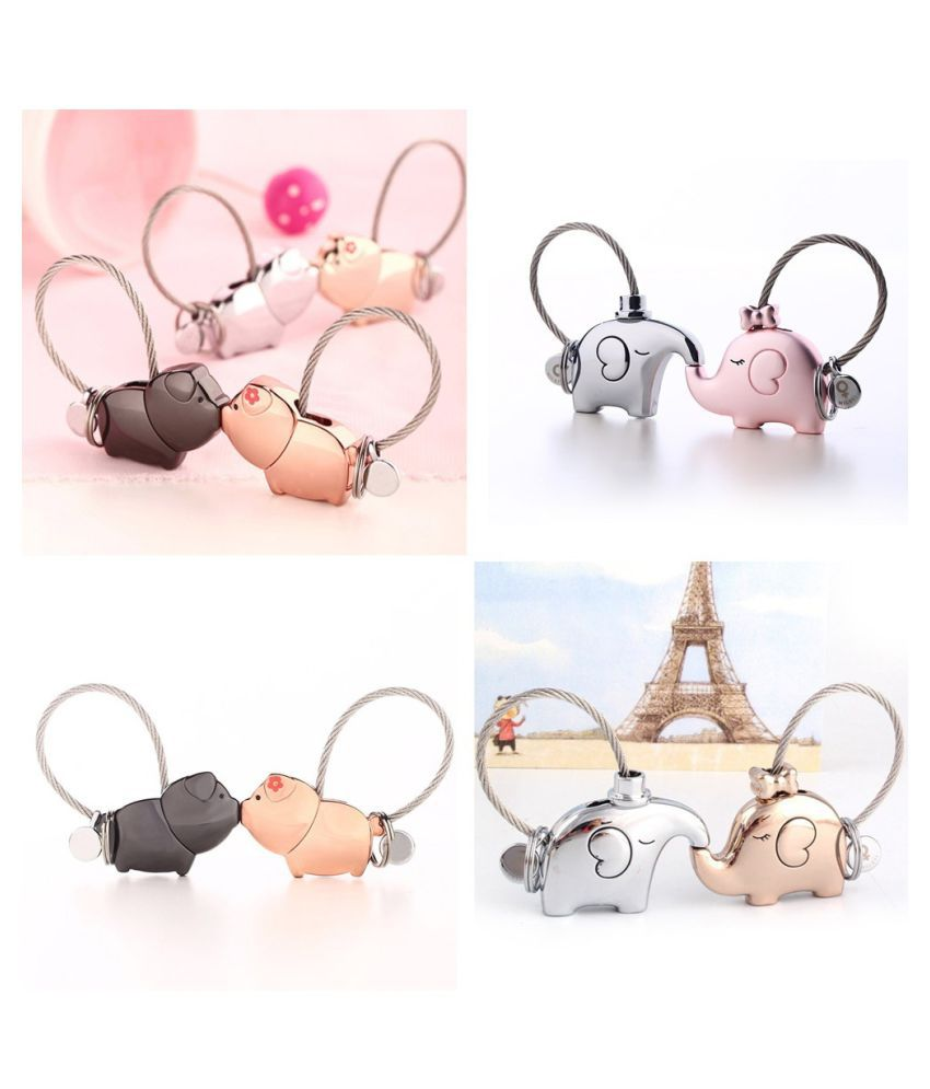 Couple Keychain Cute Gift Kiss Pendant Chain Pig Lover Special Fashion Personality Keyring Classical Holder Keychain Key Kiss animal