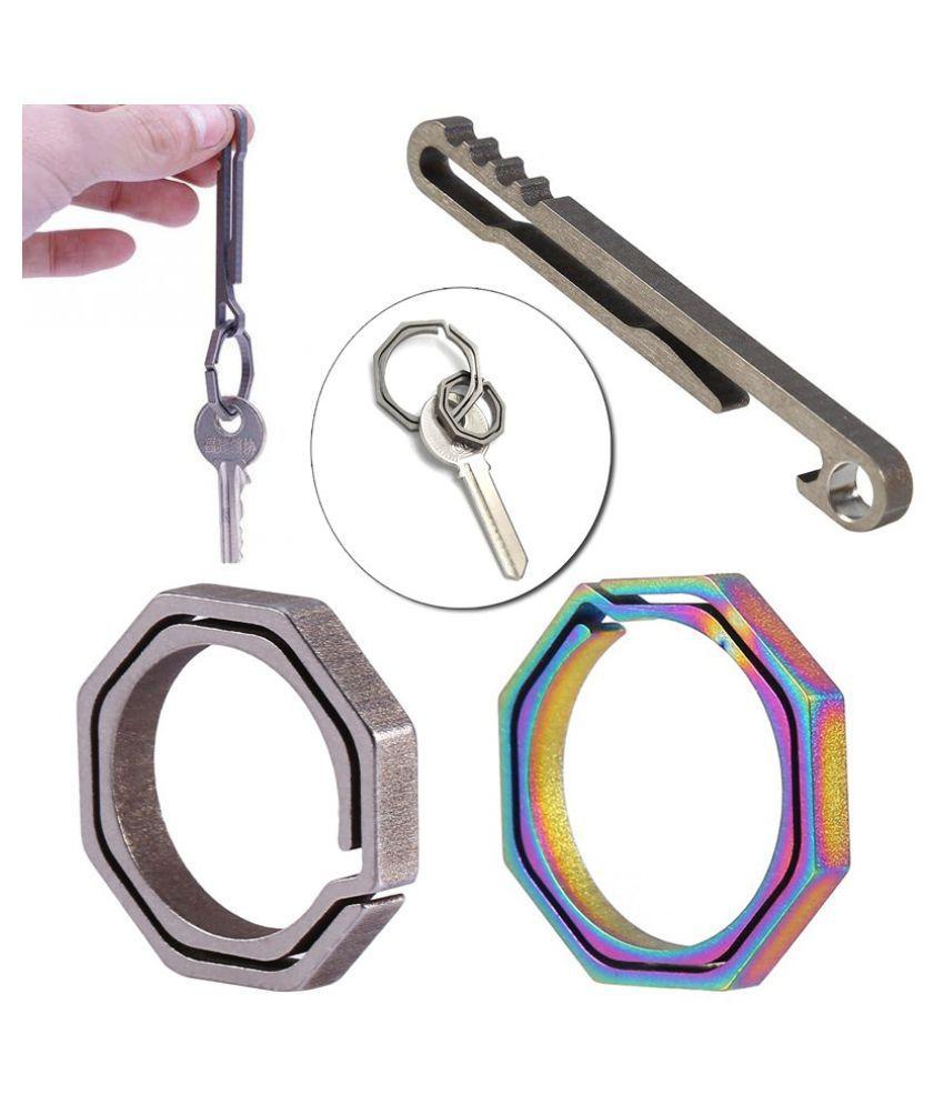 EDC Colorful Titanium Alloy Keyring Quickdraw Pocket Octagonal Ring Keychain