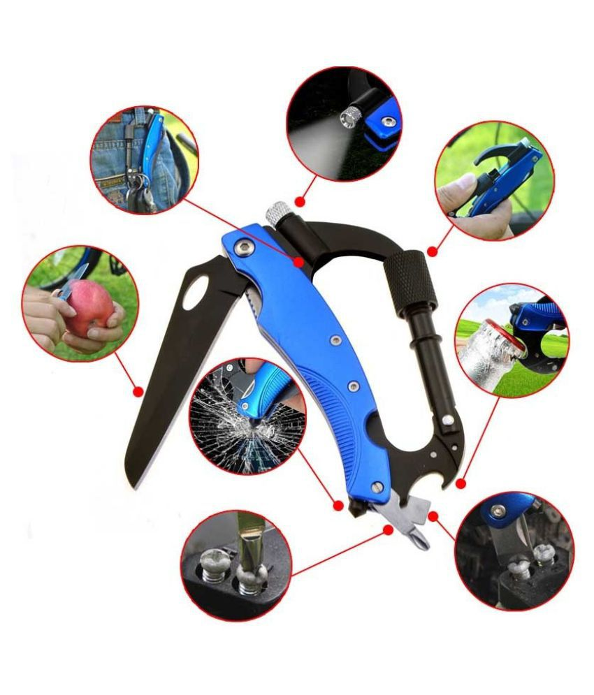 Multi Functional Stainless Camping Carabiner Clip Hook KeyChain Crabiner Knife EDC Tool LED Key Chain