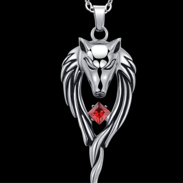 StainlessSteelTribalWolfW.RedCubicZirconiaPendantNecklace(Size:62,Color:Red)