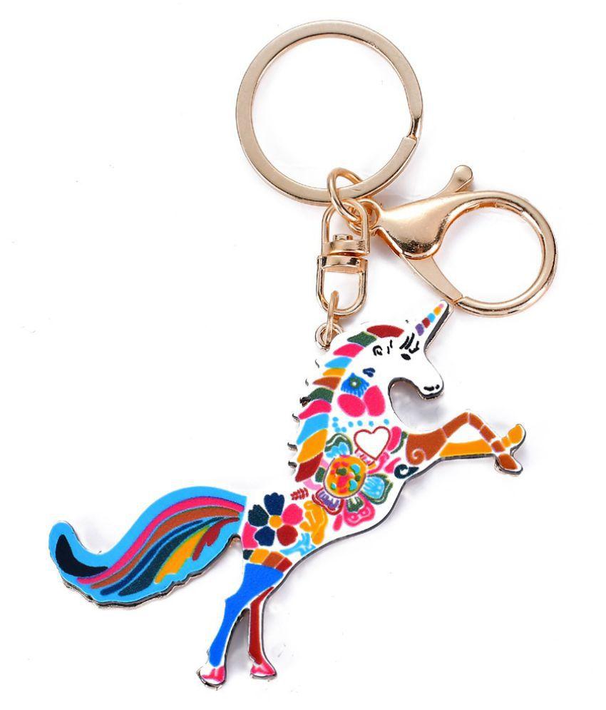 2018 New Style Unicorn Horse Keychain Keyring Cute Key Chain Car Key Charm Pendant Gift Jewelry Accessories