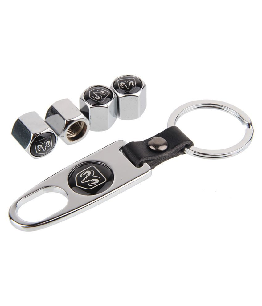 Stainless Steel For RAM Logo Dodge Caravan Nitro Challenger Avenger Car Wheel Tire Valve Caps Cap With Mini Wrench Spanner Keychain