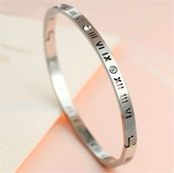 1 Pc Stainless Steel Bangles Bracelets Crystal Brand Silver Gold Roman Numerals Bangle Jewelry For Women