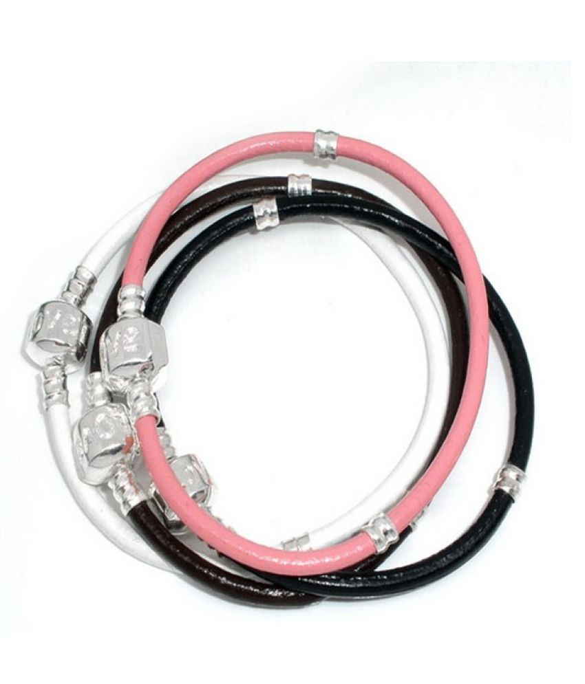 4PCs Mixed Silver Plated Snap Clasp Leather Bracelets. Fits Charms Bracelet