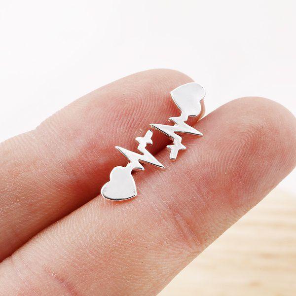Heart Electrocardiogram Stud Earrings Heart Beat Earring Doctor Nurse Jewelry