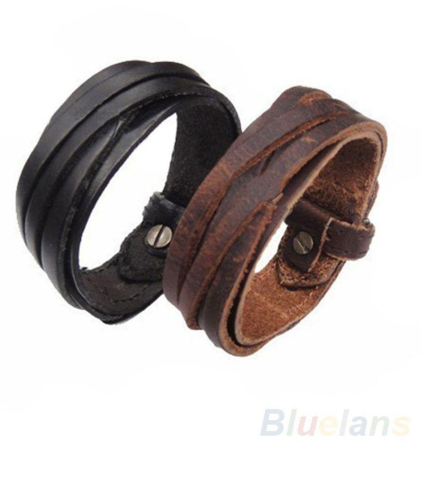 Men Women Unisex Multi thong braided thin Genuine Leather Bracelet wristband