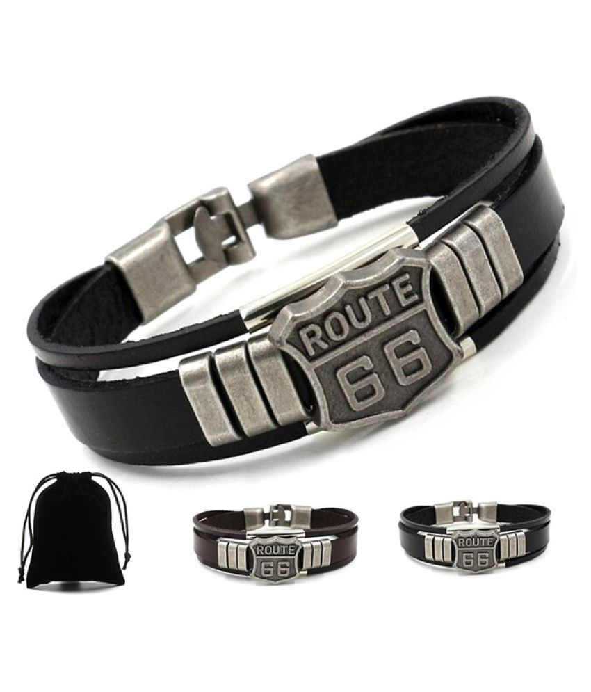 Men's Metal Alloy and Leather ROUTE 66 Printed Multi-layer Bracelets