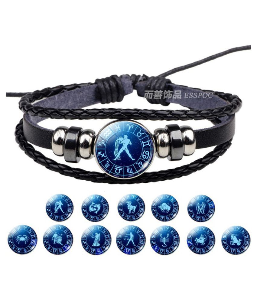 Zodiac Sign Button Bracelet Aquarius Pisces Aries Taurus Gemini 12 Constellation Punk Braided Leather Men