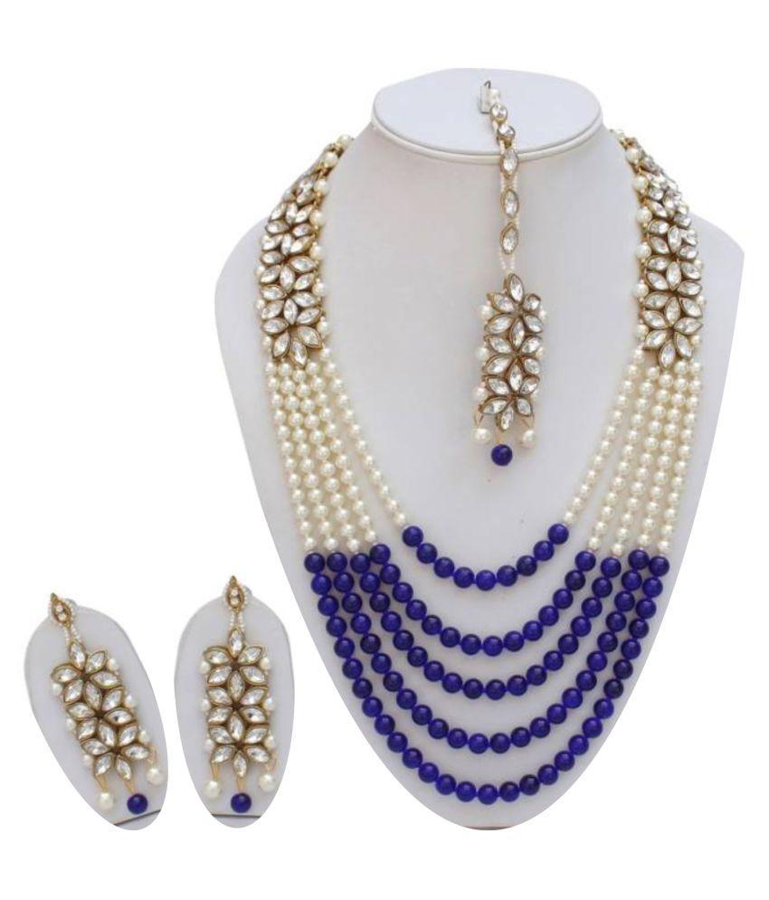 924fd35794ff3 Styylo fashion exclusive designer Party wear daily wear wedding Long Blue  White kundan necklace Set for women/girls