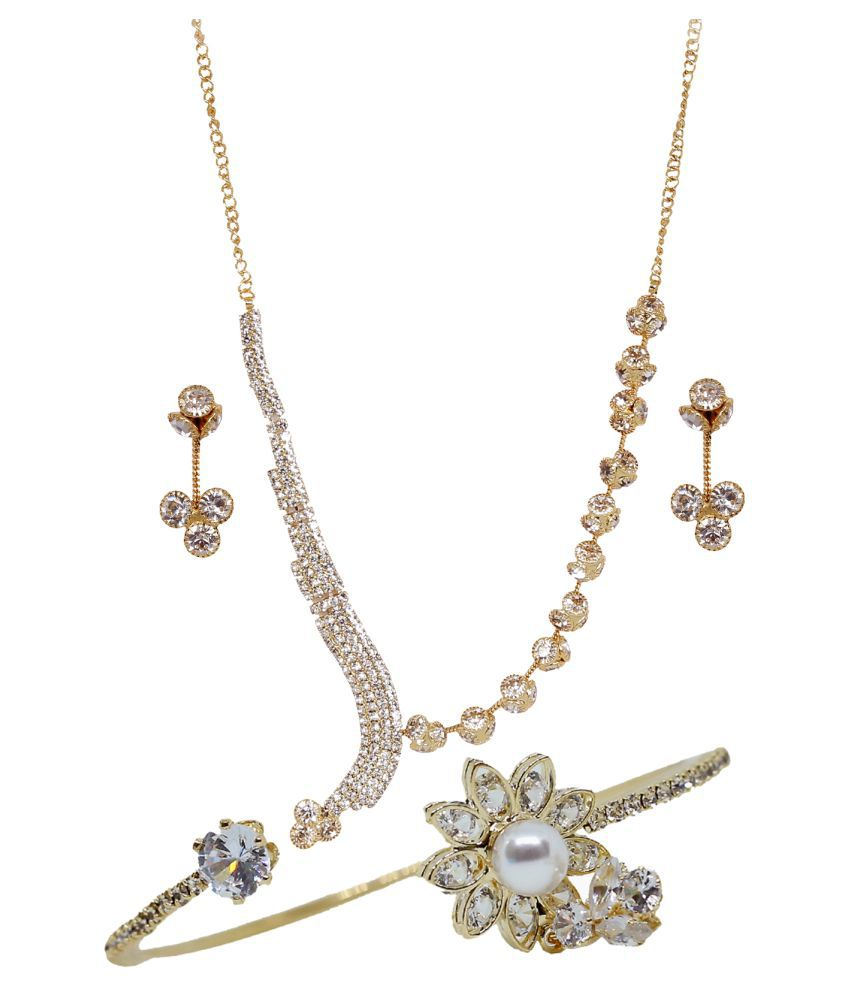 DnO Combo Pack of Necklace set with Ring Bracelet for Women