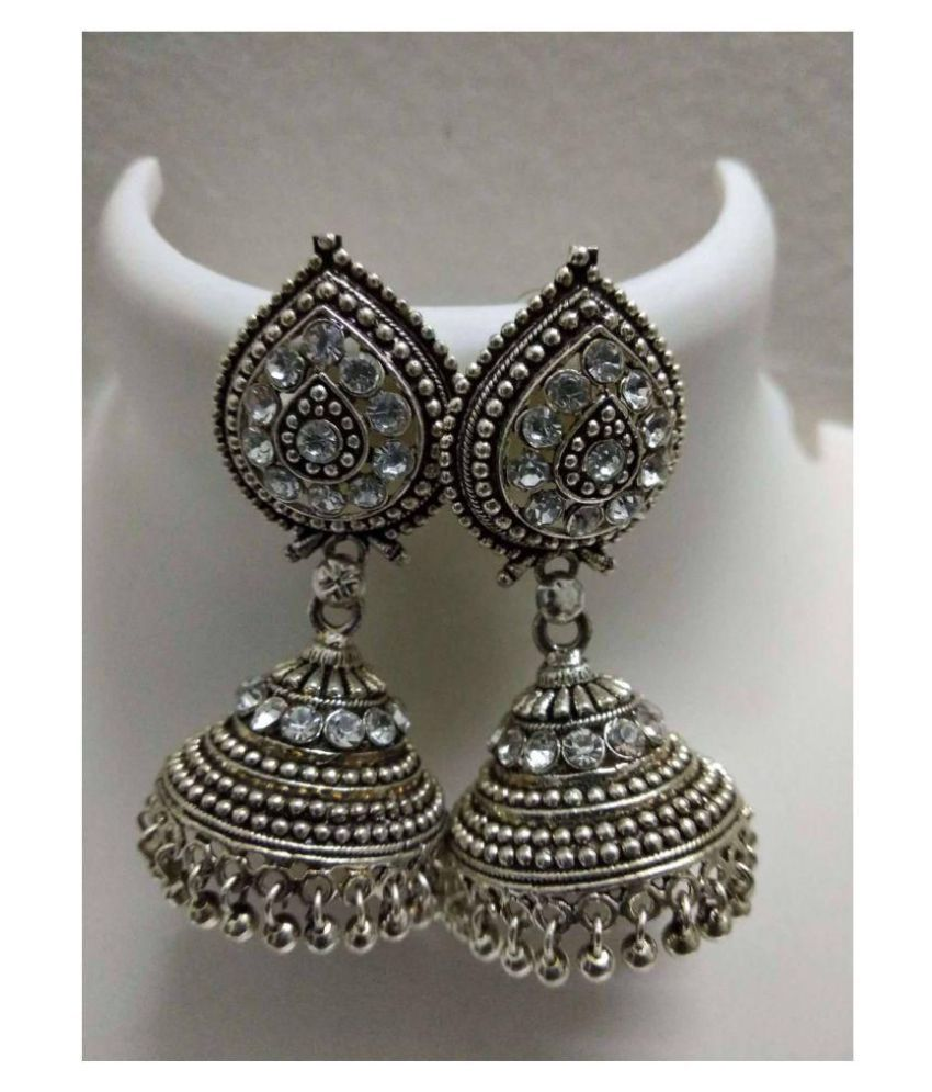 Happy Stoning oxidized silver Jhumka Earrings for Parties/Causal Pack of 1