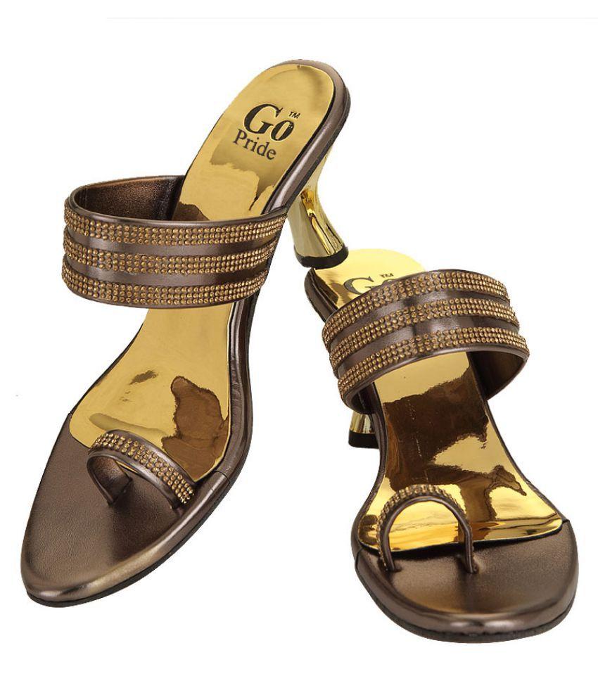 GO PRIDE Gold Kitten Heels