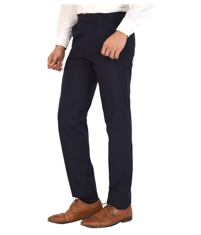 M.R.D. Navy Blue Regular -Fit Flat Trousers