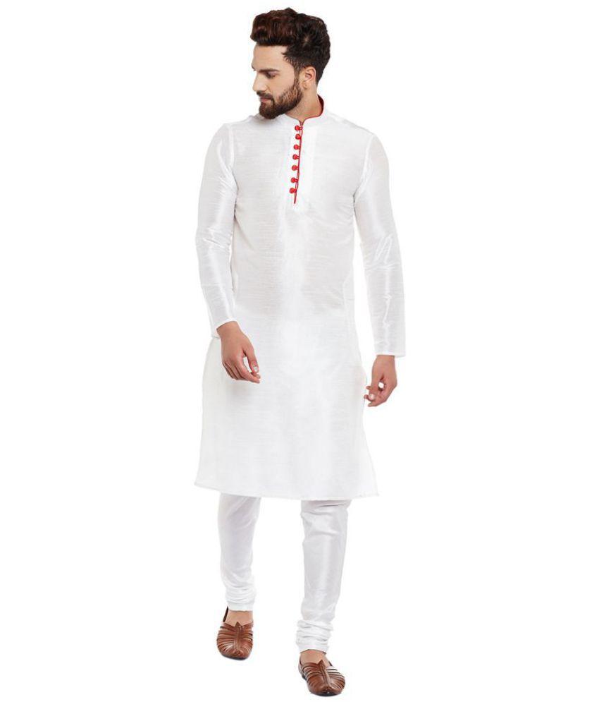 69f292fc97 Larwa White Silk Kurta Pyjama Set Pack of 1 - Buy Larwa White Silk Kurta  Pyjama Set Pack of 1 Online at Low Price in India - Snapdeal