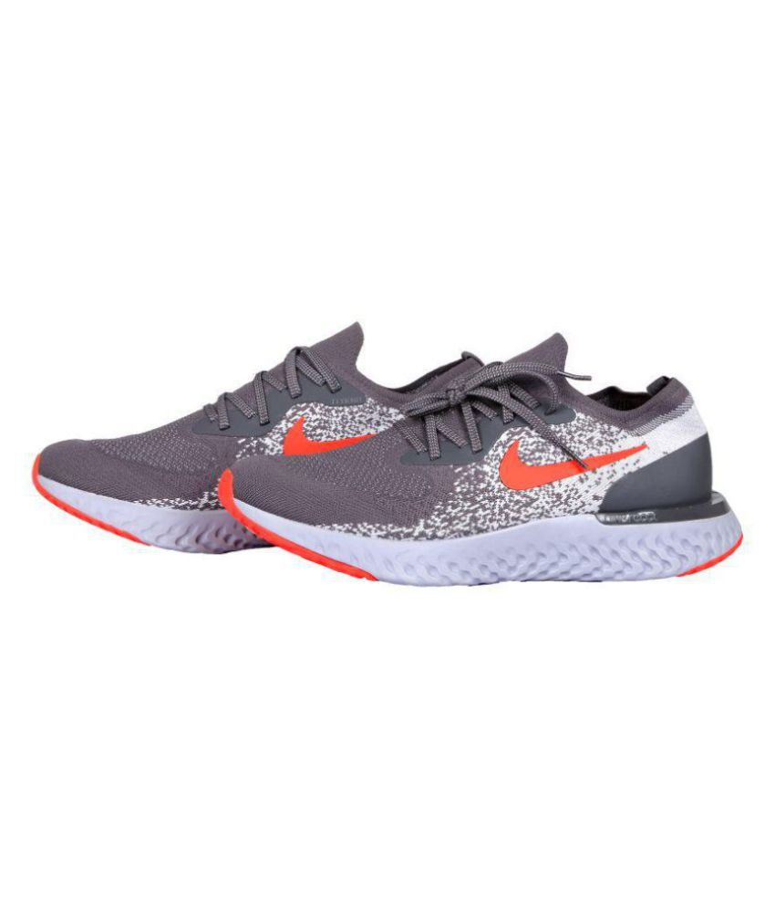 f095492f55ae Nike EPIC REACT FLYKNIT Grey Running Shoes - Buy Nike EPIC REACT FLYKNIT  Grey Running Shoes Online at Best Prices in India on Snapdeal