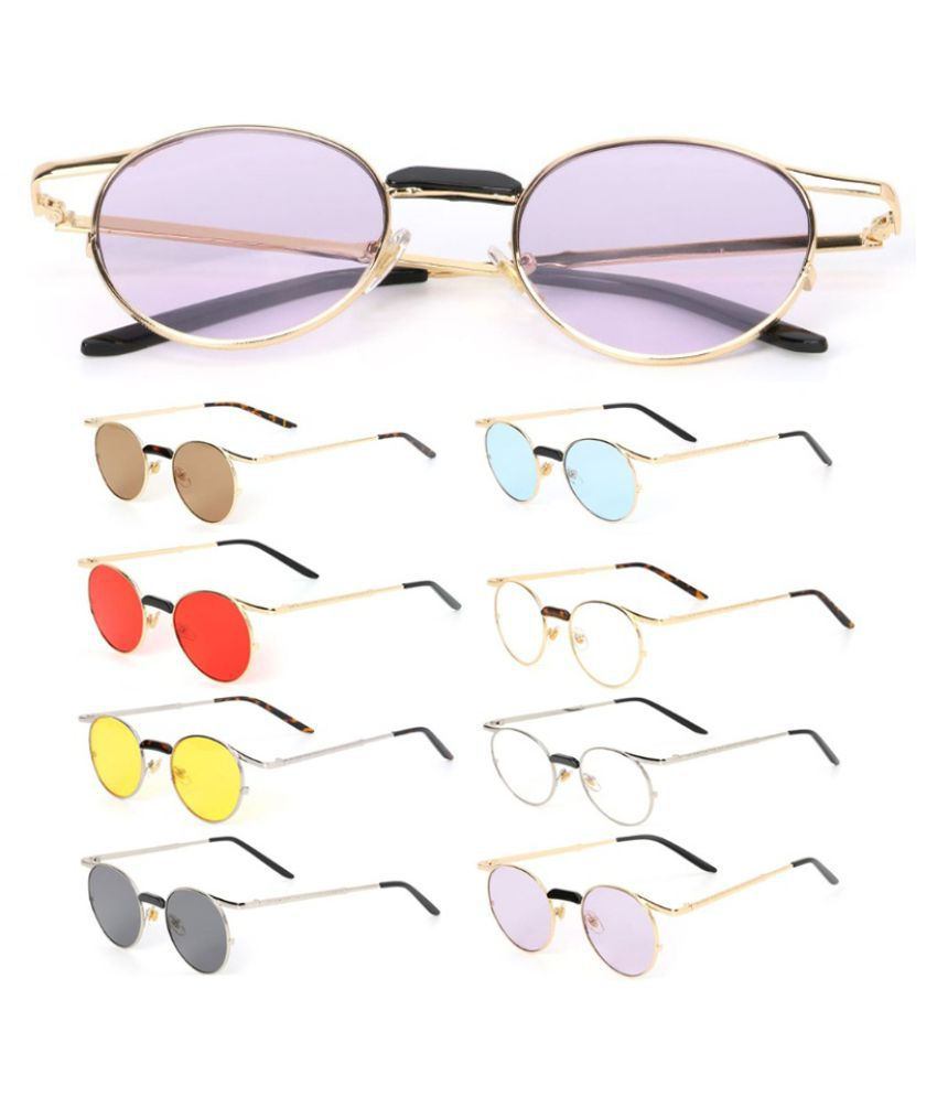 ZXG Red Aviator Sunglasses ( Round Sunglasses Metal Frame Vintage Fashion Bran )