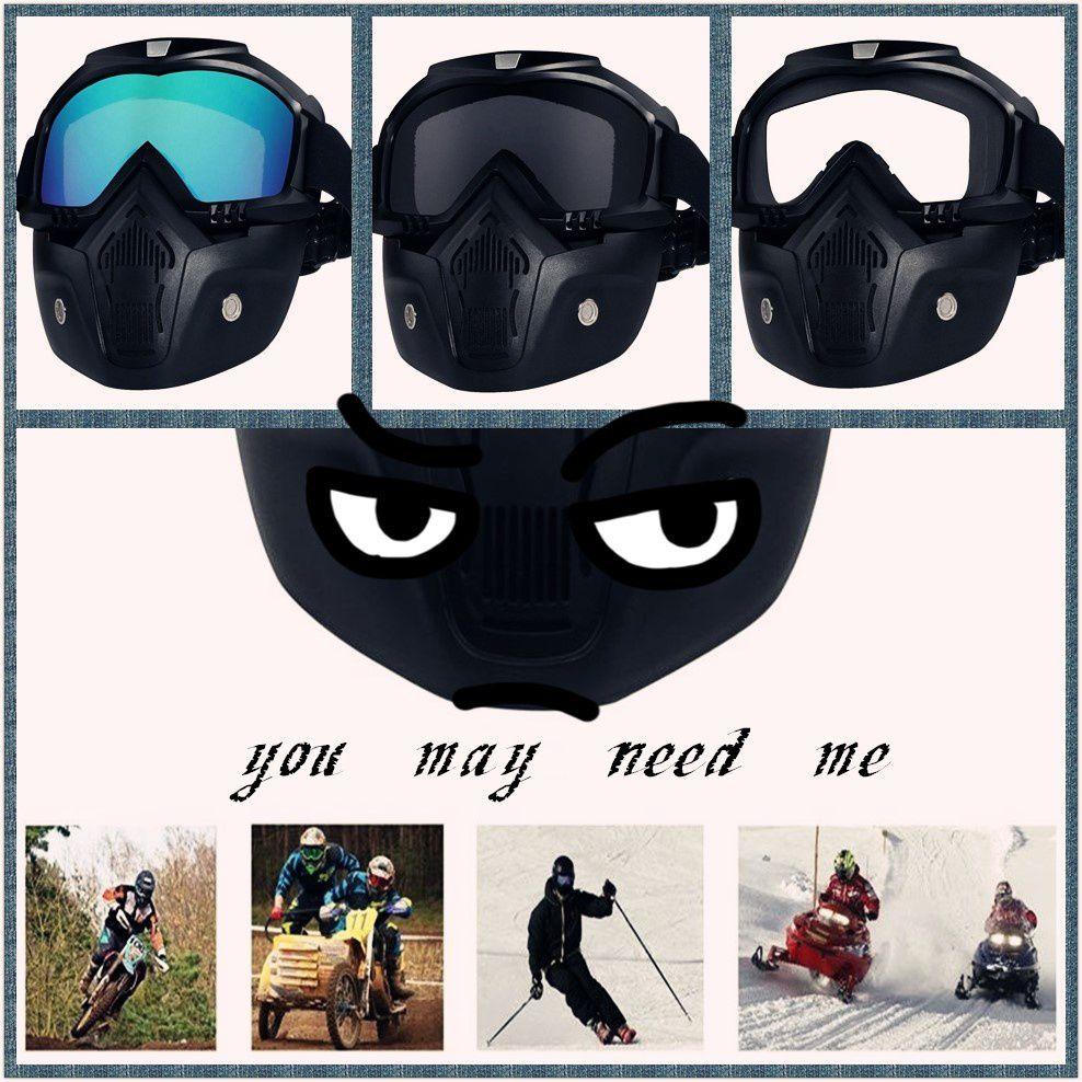 ZXG White Aviator Sunglasses ( Motorcycle Goggles Mask Detachable,Protect Paddin )