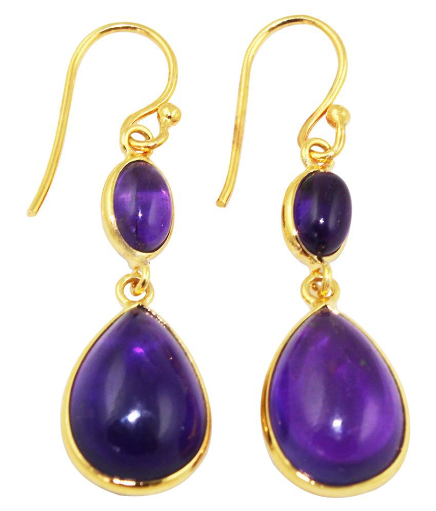 8aa1a8d82 G-Vogue Natural Duble Amethyst Gemstone 24K Gold Plated Earring For Woman  Fashion Jewellery - Buy G-Vogue Natural Duble Amethyst Gemstone 24K Gold  Plated ...