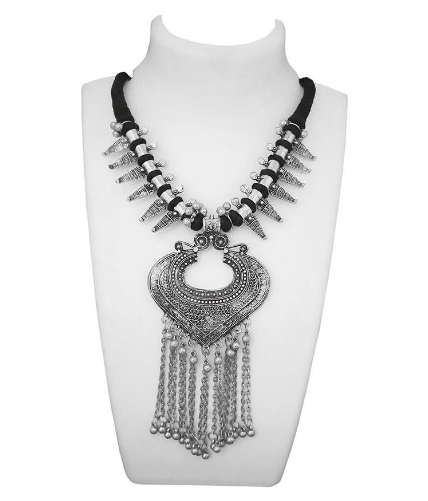 JewelMaze Oxidised Plated  Afghani Statement Necklace -1112601