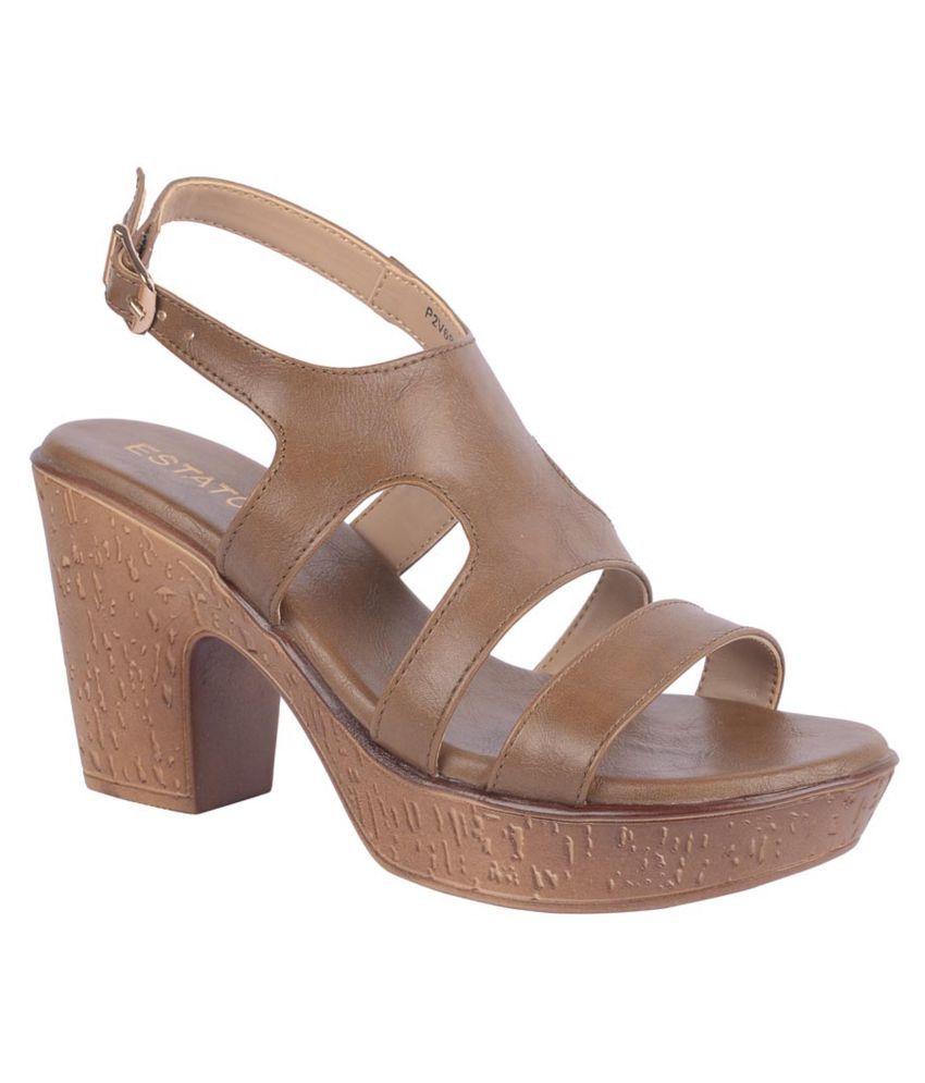 Aliado Brown Wedges Heels