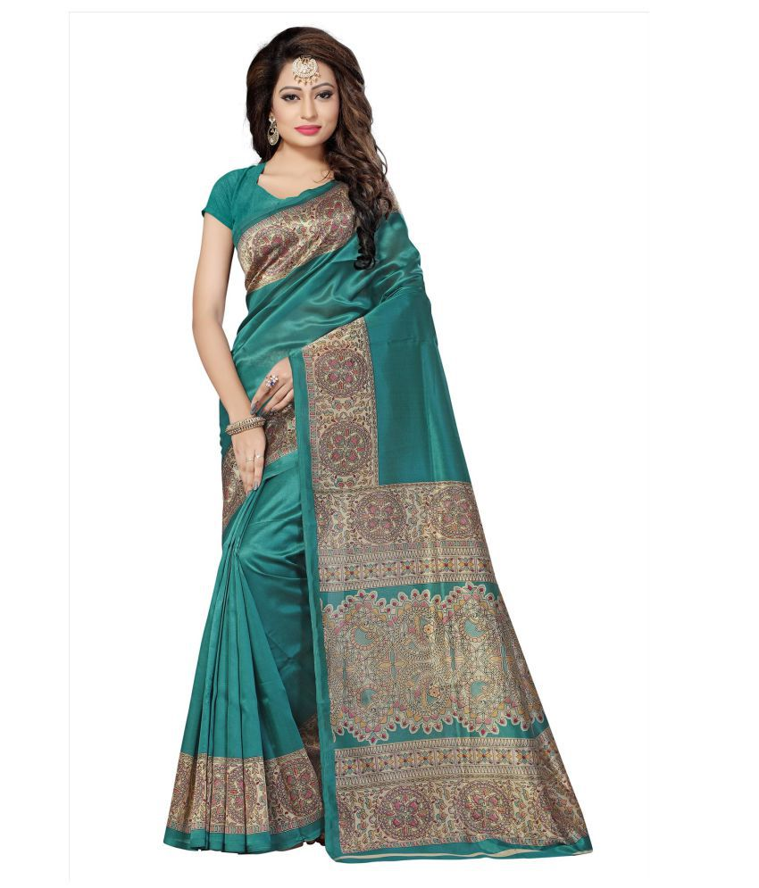 Blissta Green and Grey Mysore Silk Saree