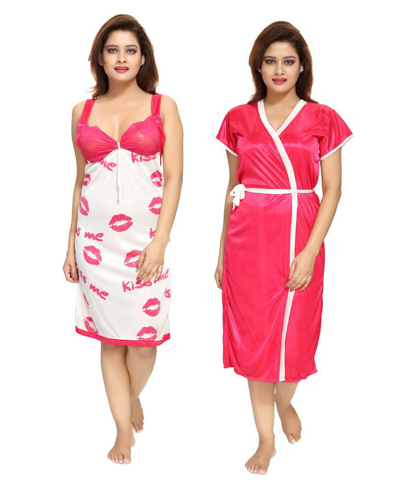 Pinkcity Collections Satin Nighty & Night Gowns - Multi Color