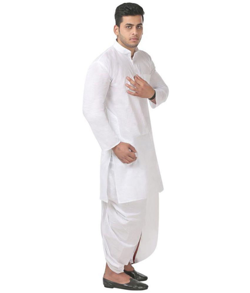 8c104b038b6 FANZI White Cotton Dhoti Kurta Set - Buy FANZI White Cotton Dhoti ...