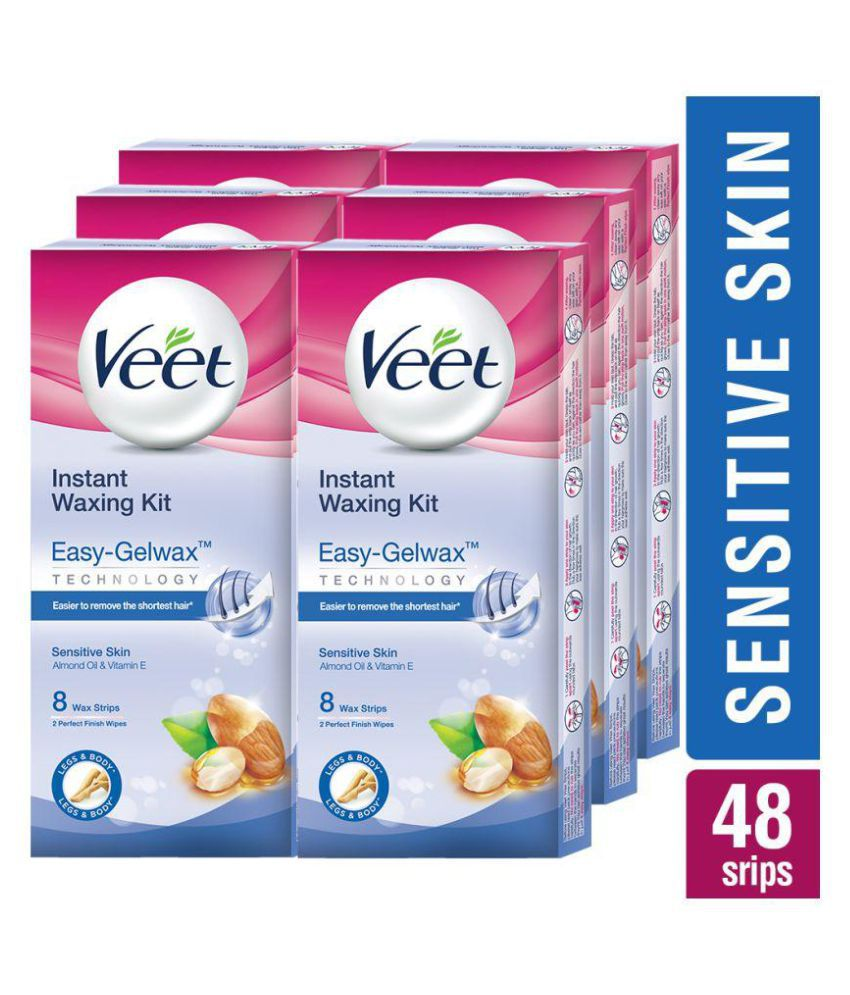Veet Wax Strip Sensitive Skin 8 Strips Pack Of 6 Buy Veet Wax Strip Sensitive Skin 8 Strips Pack Of 6 At Best Prices In India Snapdeal