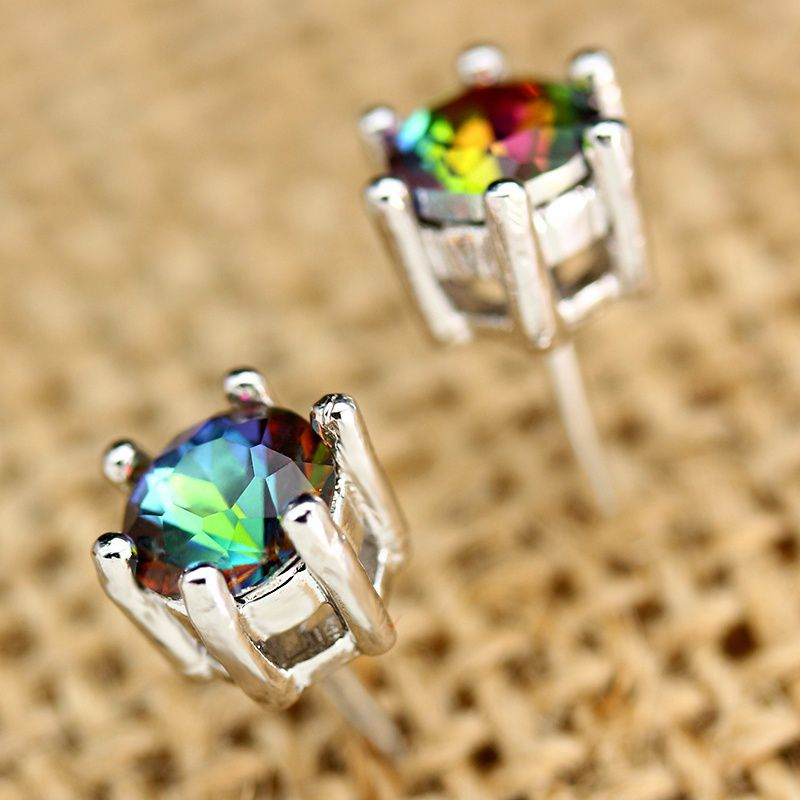 14K White Gold Filled Natural Gemstone Rainbow Moonstone Stud Ear Earring Wedding Engagement Party Women Fine Jewelry Gift