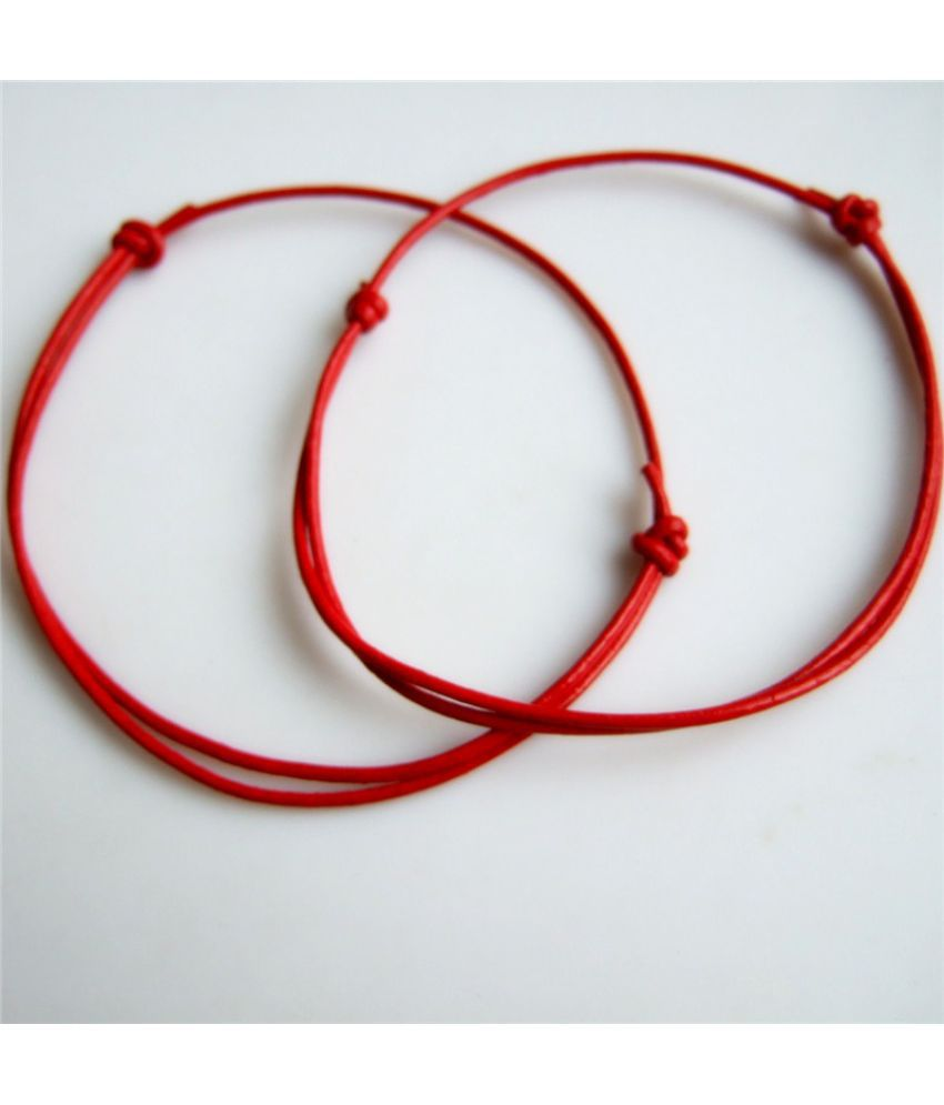 2pieces Red Genuine Leather String Cord Kabbalah Lucky Bracelet Anklet Against Evil Eye Success