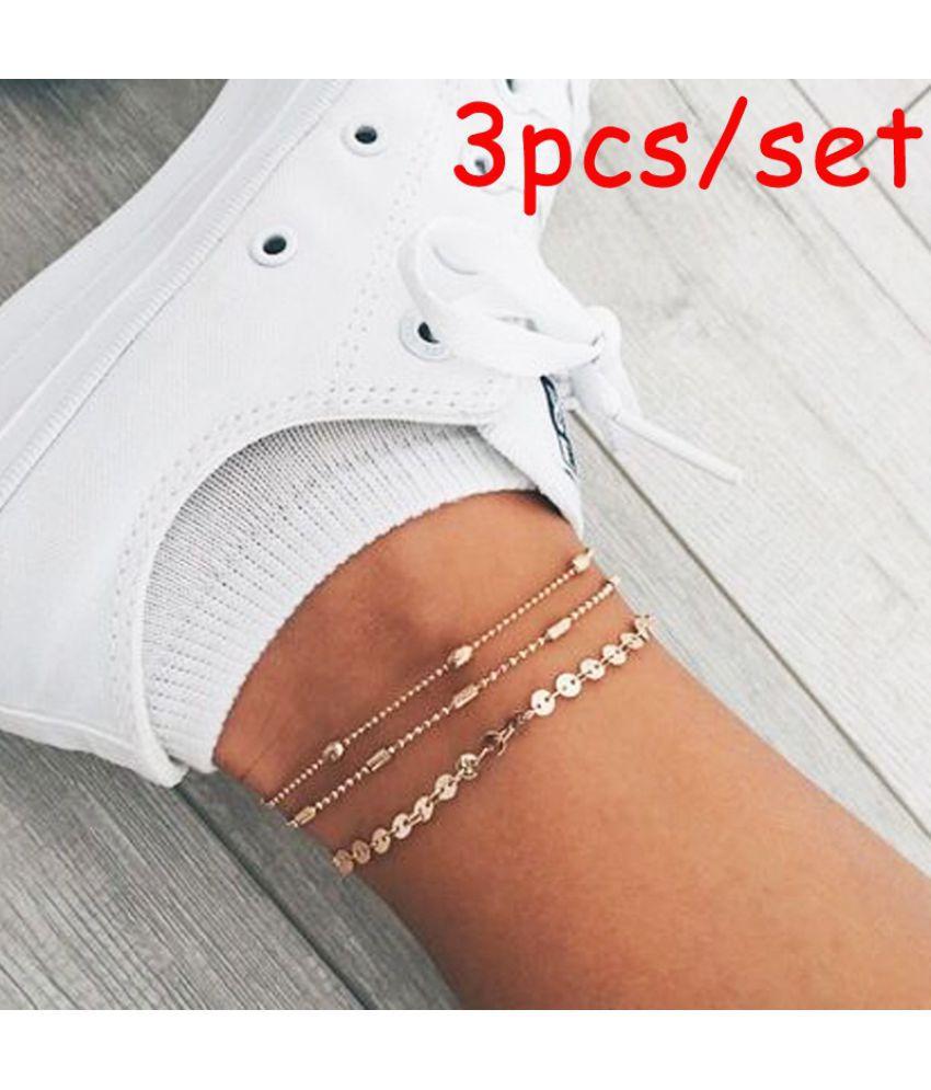 3/4pcs/set Vintage Simple Multilayer Sequin Chain Anklet Set Bohemian Silver/gold Bead Chain Fashion Bracelet Anklets Set Summer Beach Accessories Gift