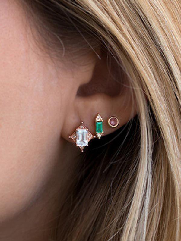 3 Pairs Earrings Set  6 pcs  Fashion Women Earrings Baguette Gemstone Studs Set in 18k Gold