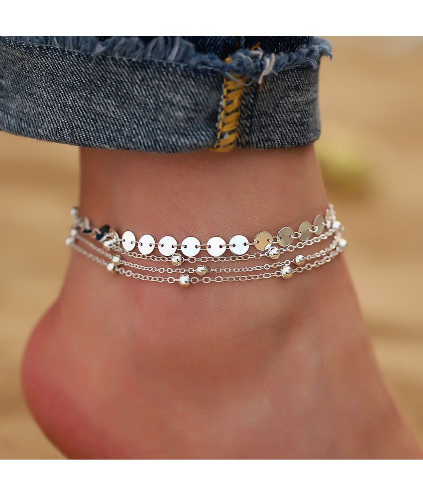 4pcs/set Fashion Sequins Coins Beads Anklet Bracelet Set Silver Gold Color for Women Charm Multilayered Ankle Chain Charm Jewelry Summer Beach Gifts