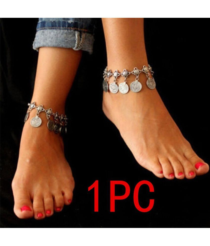 Chaine Cheville Femme Foot Chain Gypsy Old Turkish Coin Silver Anklet Ankle Bracelet Beach Foot Jewelry Bijou Leg Chain