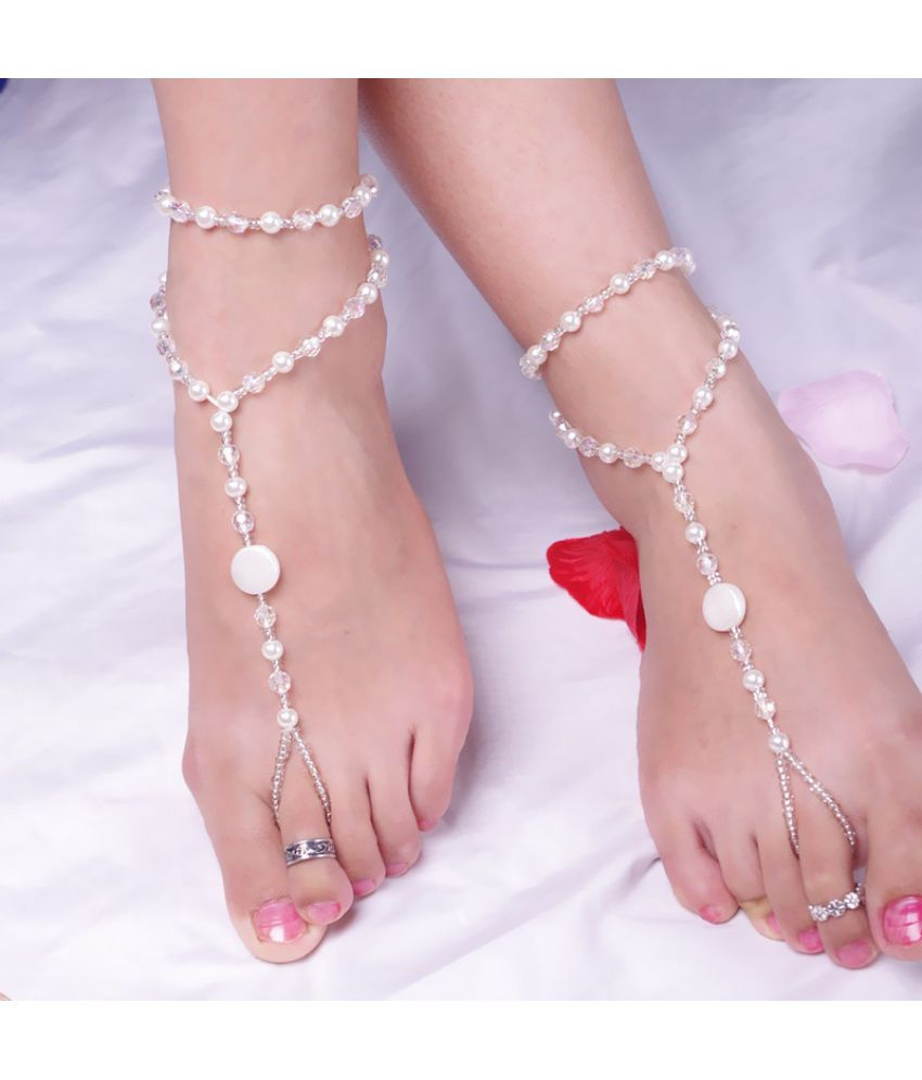 European Fashion All-match Pearl Handmade Beaded Stretch Finger Anklet Stylish Barefoot Sandal Bridal Beach Pearl Chain Anklet Foot Jewellery