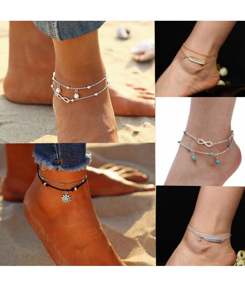 European and American retro multi-layer foot chain blue turquoise feather foot chain bracelet bohemian style