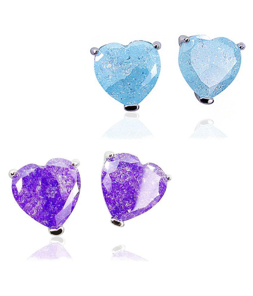 Exquisite Charming Purple / Blue Ice Zircon Heart Shaped Stud Earrings for Women