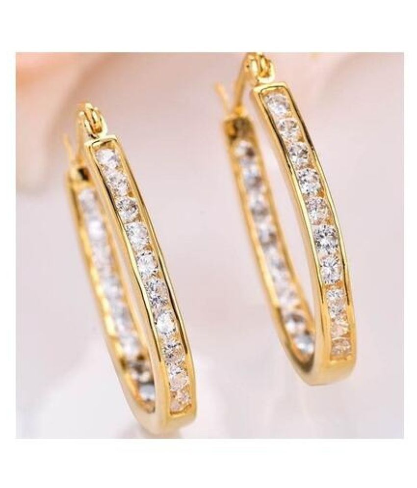Fashion Genuine 18 K Gold Filled Topaz Drop Stud Earrings Jewelry Gifts