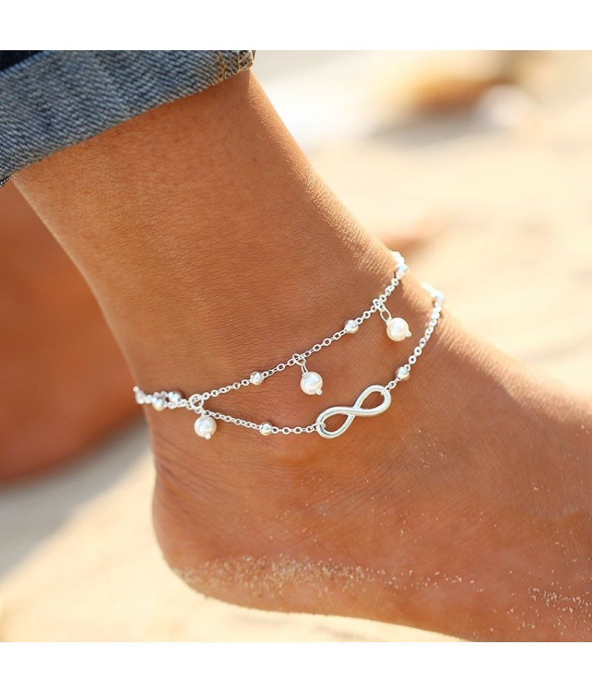 FeelinGirl New Arrival Fashion Simple All-Match Infinity Anklet Creative Silver Plated Goldplated Double Chain Cross Shape Pretty Girl Summer Beach Travel Bracelet Jewelry
