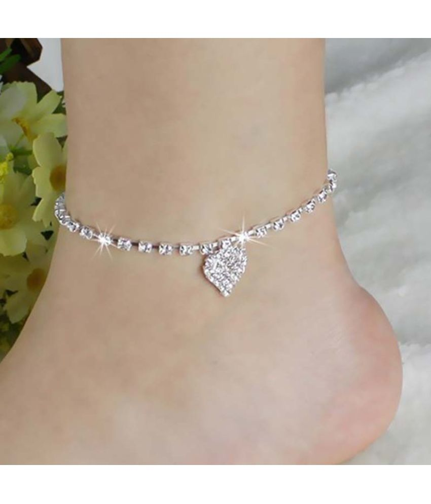 New Women Lady Crystal Rhinestone Love Heart Anklet Ankle Bracelet Chain Jewelry