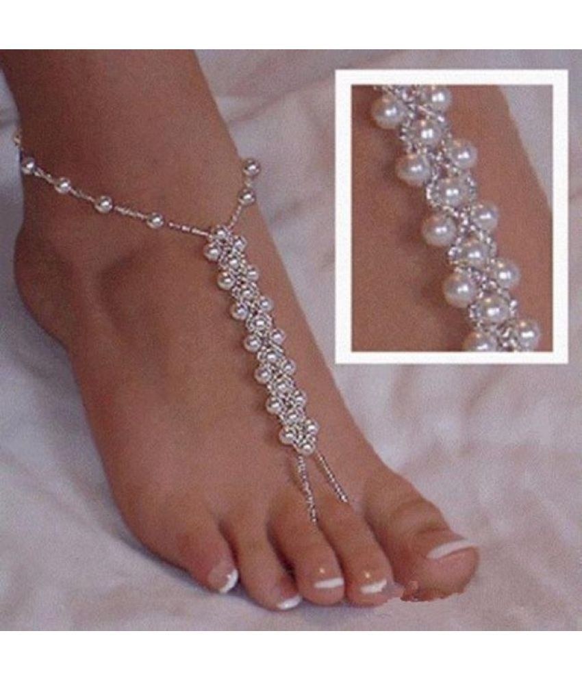 Pretty Pearl Barefoot Sandal Anklet Ankle Bracelet Foot Chain Toe Ring Jewelry