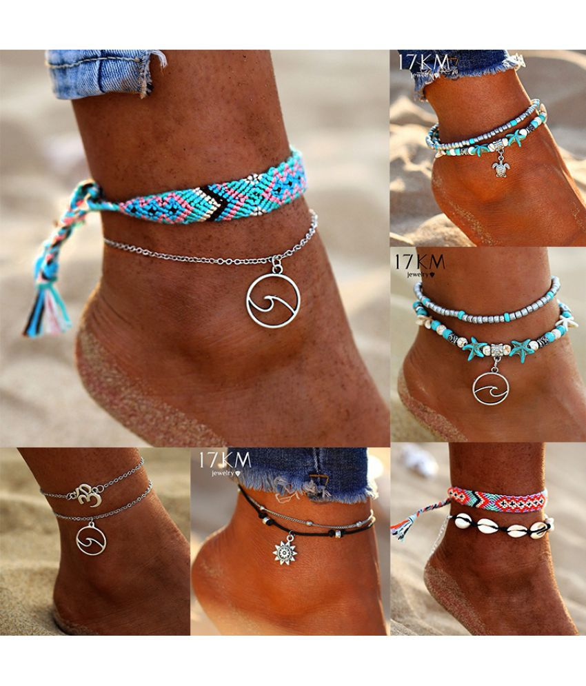 Vintage Multilayer Weave Wave Tortoise Sun Anklets Set Bohemian Charm Shell Turtle Bead Chain Anklet Bracelet Women Jewelry Set Accessories Gift
