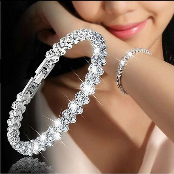 3 Color Women Fashion Roman Style Woman 925 Sterling Silver Crystal Diamond Bracelets Gifts
