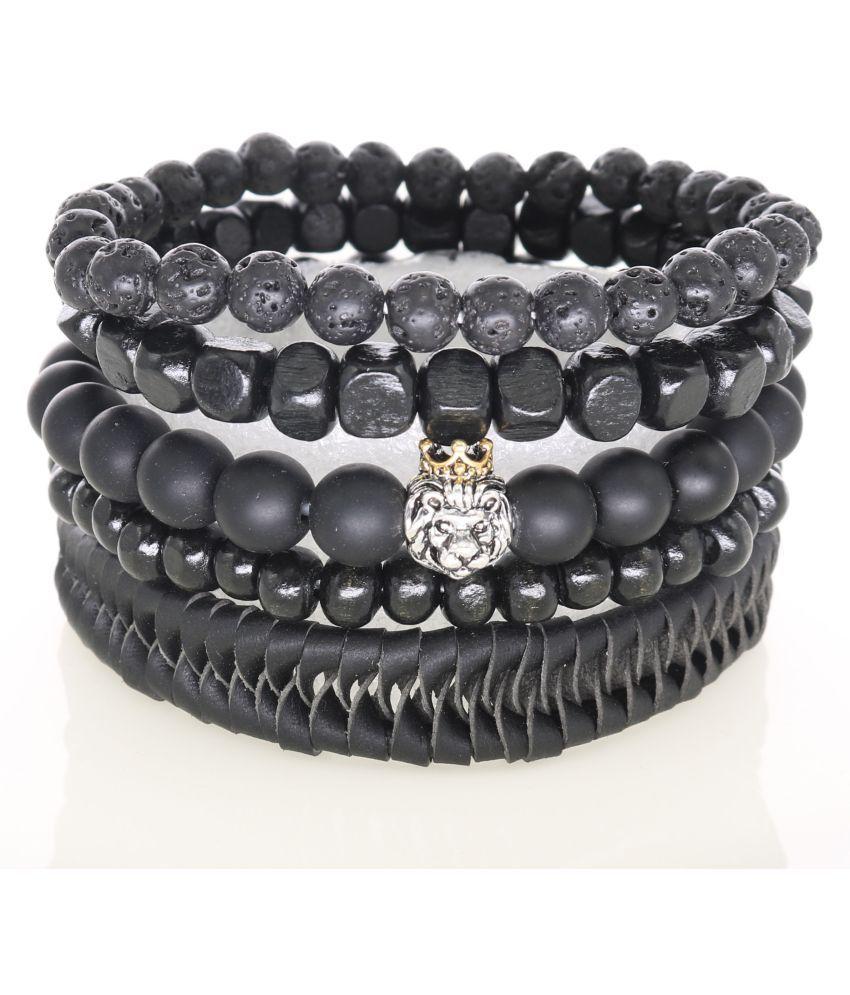 Men's Bracelet with Silver Crown Lion Charm Matte Onyx Agate Lava Stone Beads Genuine Leather Bracelets & Bangles Women's Fashion Jewelry 1 Set 5 Pieces