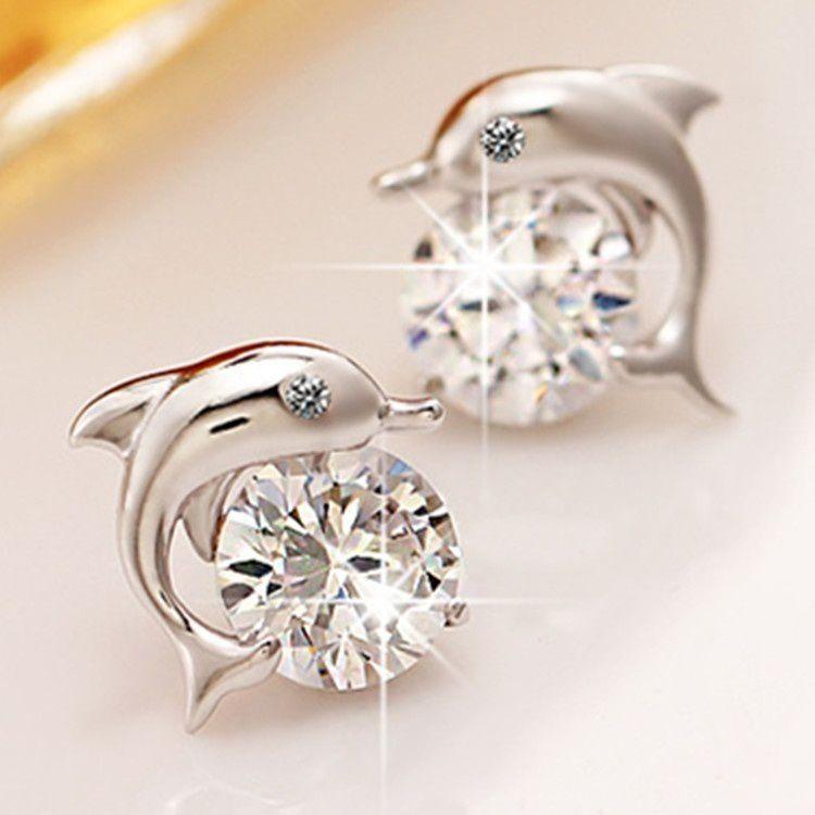 Lovely Crystal Eye Dolphin CZ Stud Earrings Women's Silver Jewelry