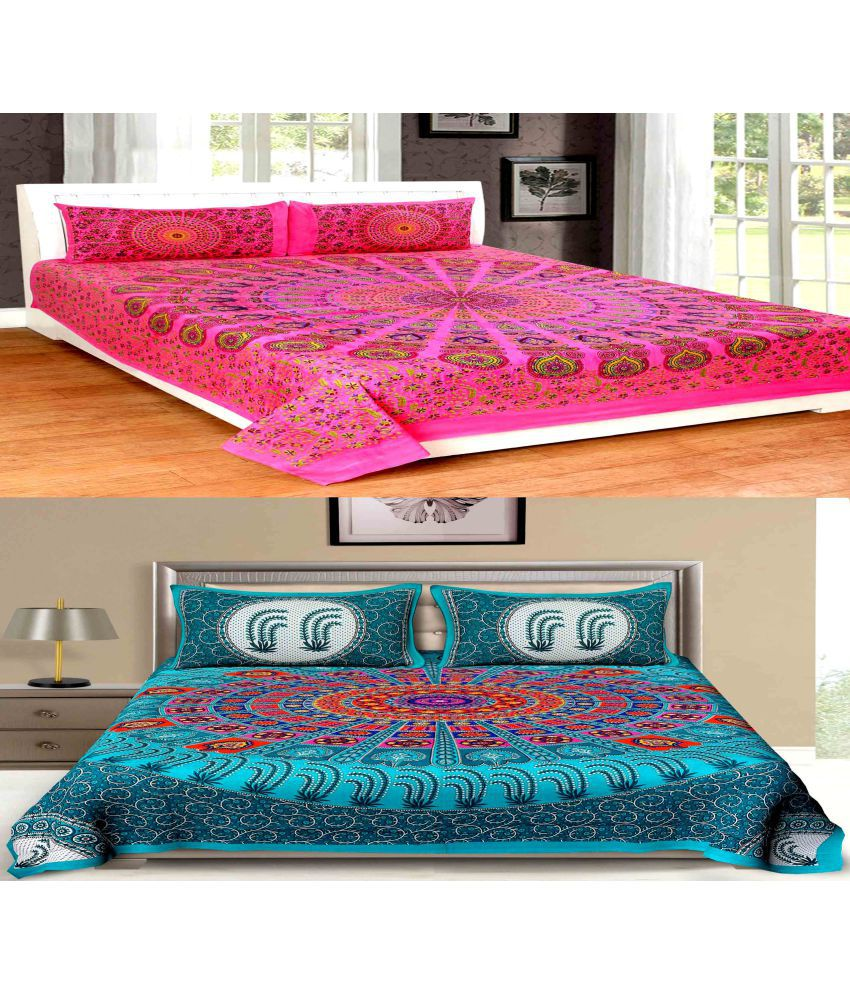 UniqChoice Cotton 2 Double Bedsheets with 4 Pillow Covers Bedsheet Combo